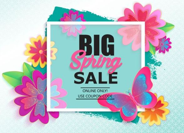 Spring big sale vector background 04