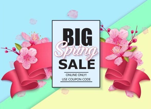 Spring big sale vector background 06