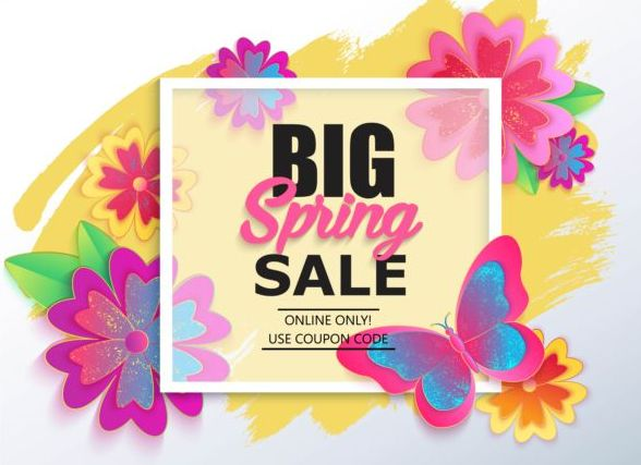 Spring big sale vector background 07