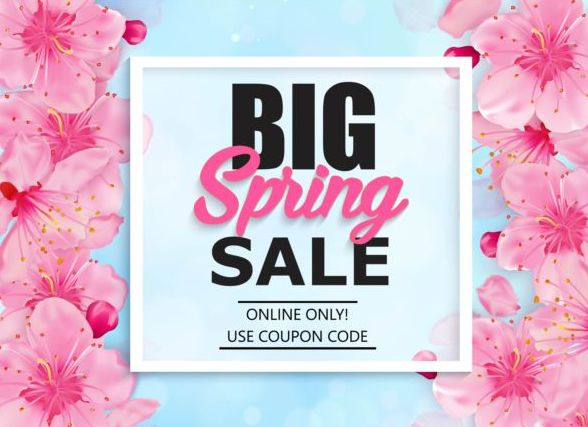 Spring big sale vector background 09