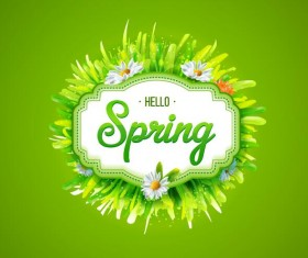 Spring card with green frame vectors