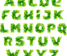 Spring leaves alphabet vector