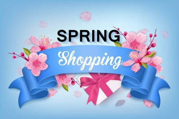 Spring shoping banner ribbon with flower background vector 01