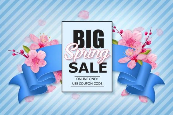 Spring shoping banner ribbon with flower background vector 02