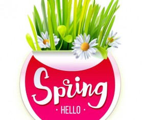 Spring sticker with grass vector