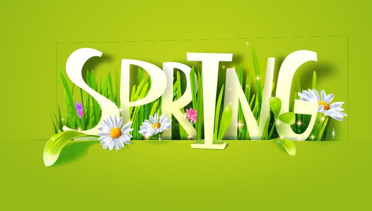 Spring text with grass and flower vector 01