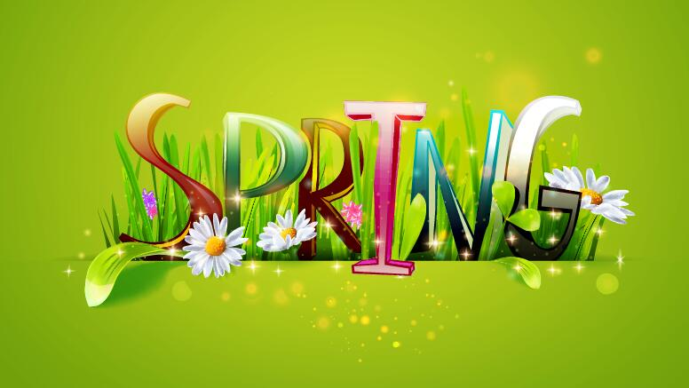 Spring text with grass and flower vector 02