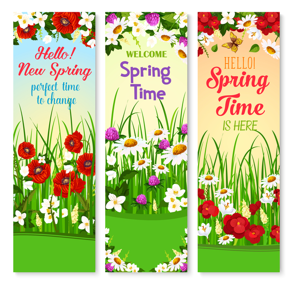 Spring vertical banner vector material