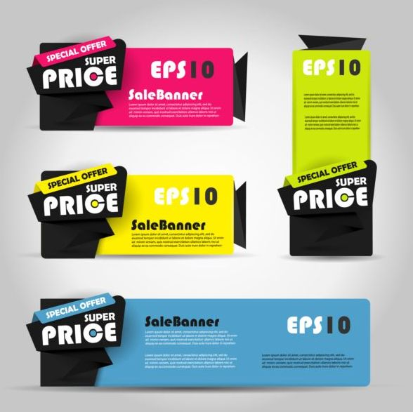 Spuer prioe banners vector material