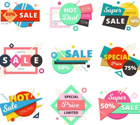 Spuer sale labels creative vector