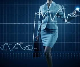 Statistical chart and the figure of the briefcase Stock Photo