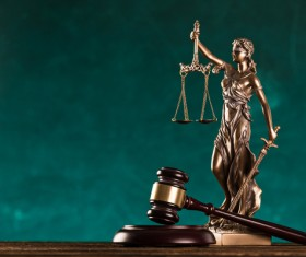 Statue of the goddess of justice and gavel Stock Photo 01