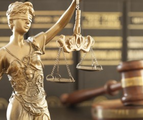 Statue of the goddess of justice and gavel Stock Photo 02