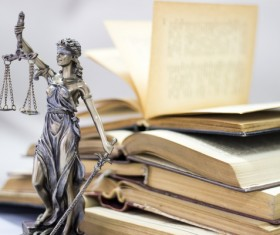 Statue of the goddess of justice and legal books Stock Photo 03