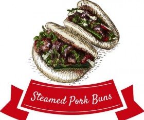 Steamed pork buns chinese cuisine vector
