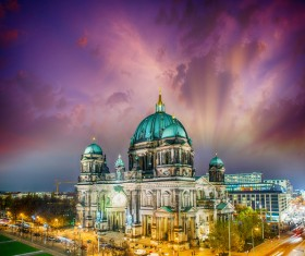 Stock Photo Berlin Cathedral Night