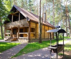 Stock Photo Forest wooden villas