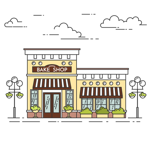 Street bake shop vector material 02