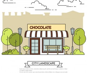 Street chocolate store vector template 01
