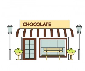 Street chocolate store vector template 02