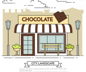 Street chocolate store vector template 03