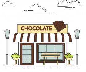 Street chocolate store vector template 04