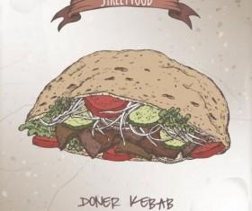 Street food hand drawn vector 01