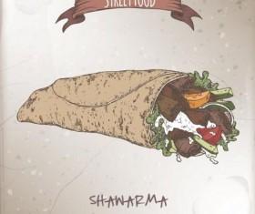Street food hand drawn vector 02
