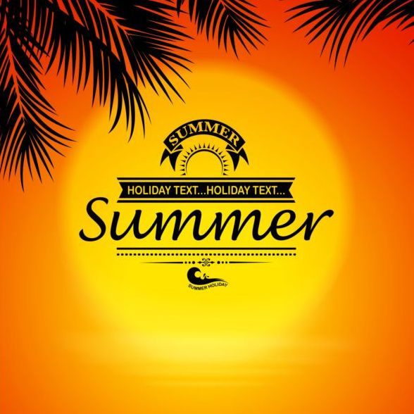 Summer background with sunset sign vector