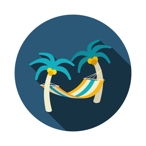 Hammock with palm trees on beach icon. Vacation