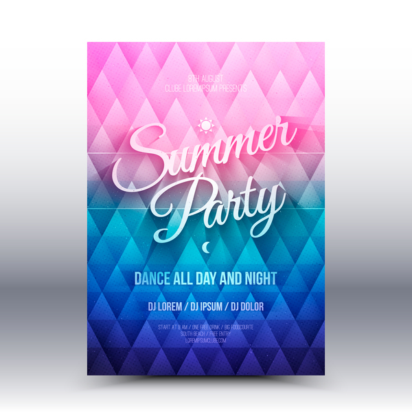 Summer party flyer template vector 01