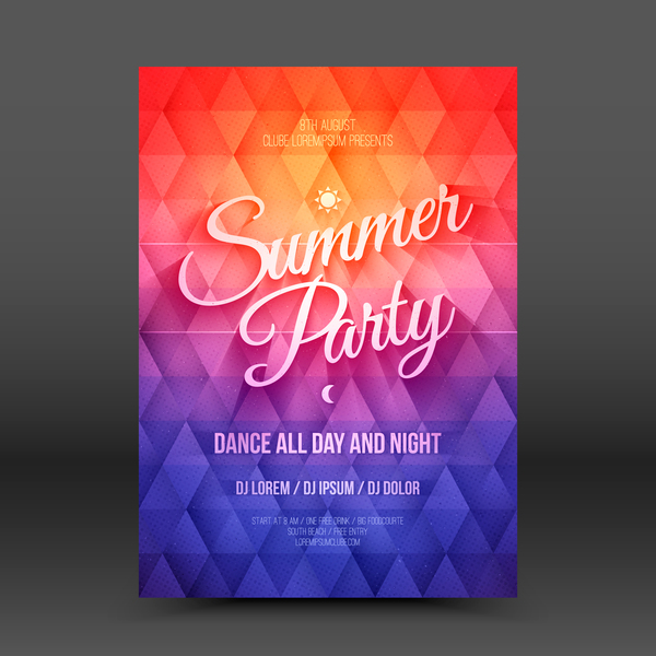 Summer party flyer template vector 02
