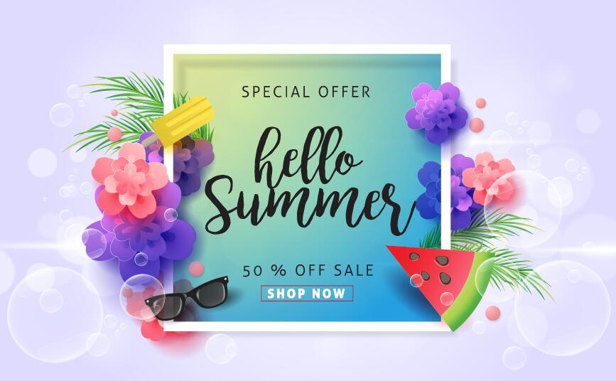 Summer special offer sale poster vector 01