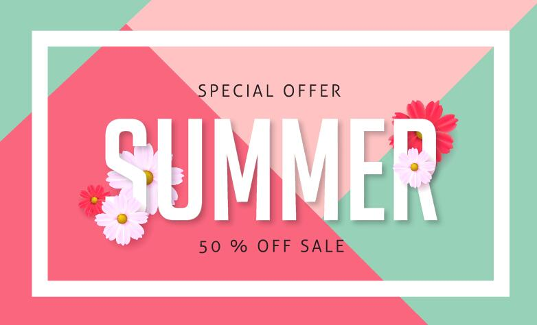 Summer special offer sale poster vector 04