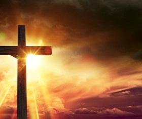 Sun under the wooden cross HD picture
