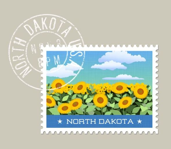 Sunflower postage stamp template vector