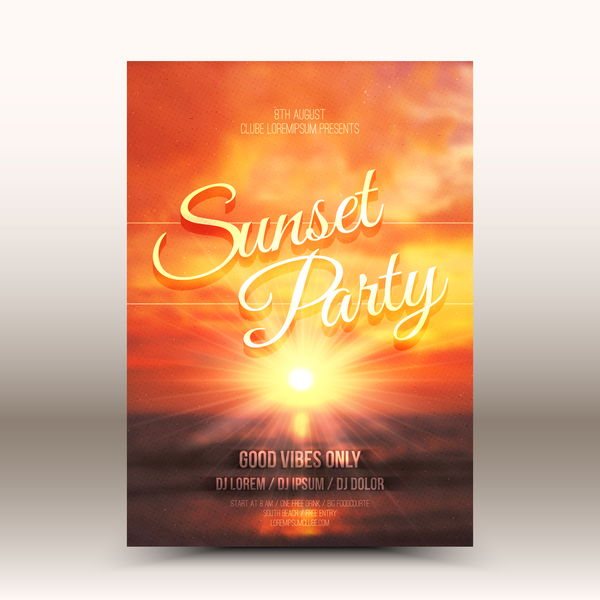 Sunset party flyer template vector 01
