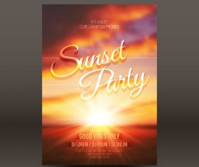 Sunset party flyer template vector 02