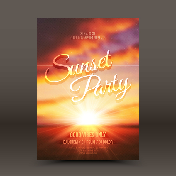 Sunset Party Flyer Template Vector   Vector Cover Free Download