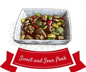 Sweet and sour pork chinese cuisine vector