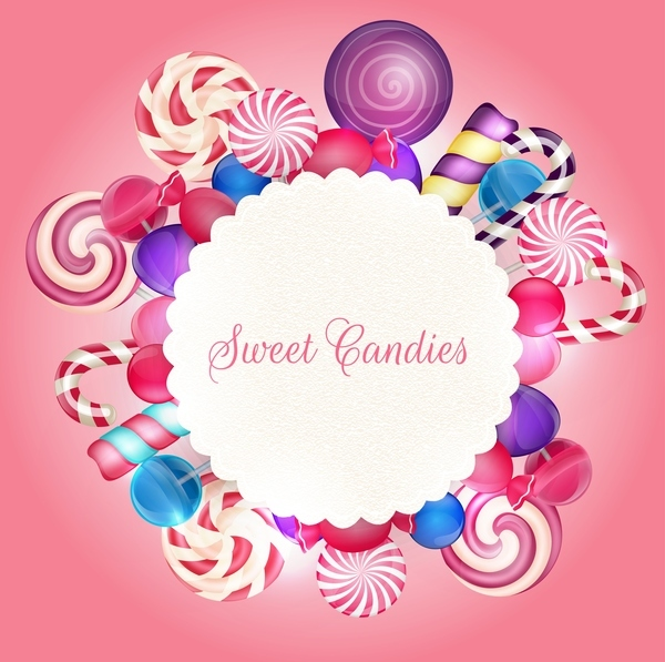 Sweet candies card design vector