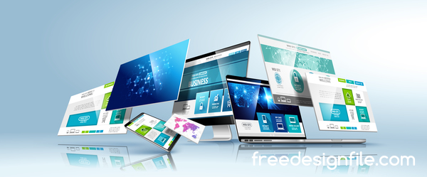 Tablet display with web design vector material 09