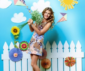 Take bouquet woman with Interior Landscape HD picture