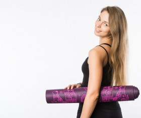 Take the girl yoga mat Stock Photo