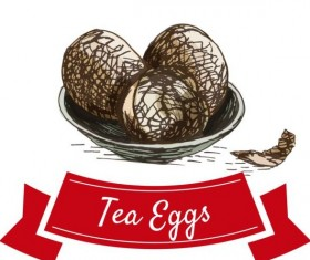 Tea eggs vector