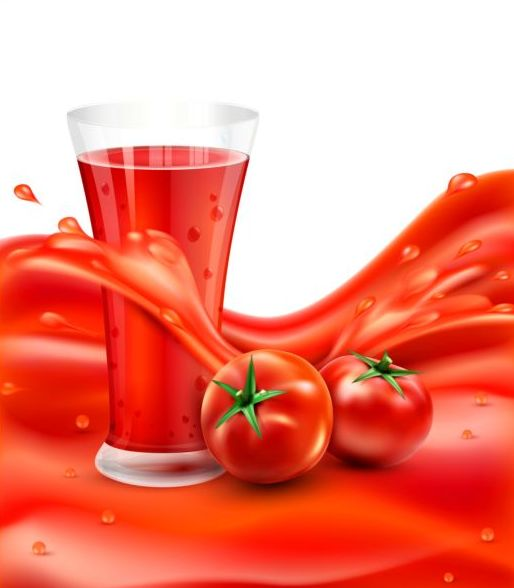 Tomato drink background vector material 01