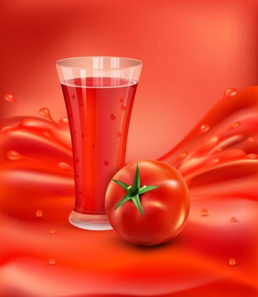 Tomato drink background vector material 03