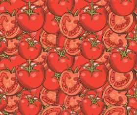 Tomato seamless hand drawn vector