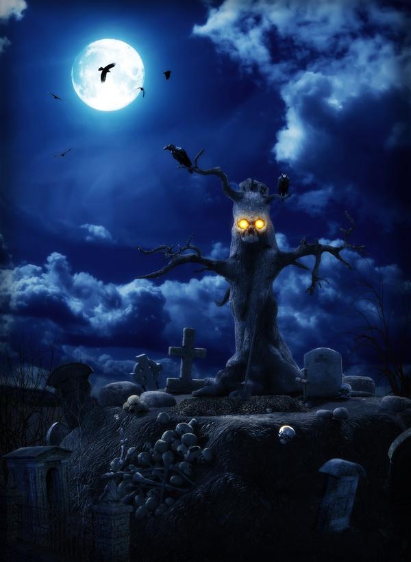 Tree demon and crow Stock Photo