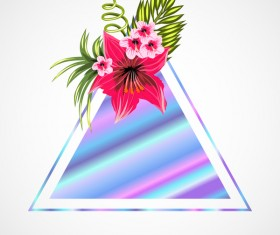 Tropical flowers with triangle vector material 03